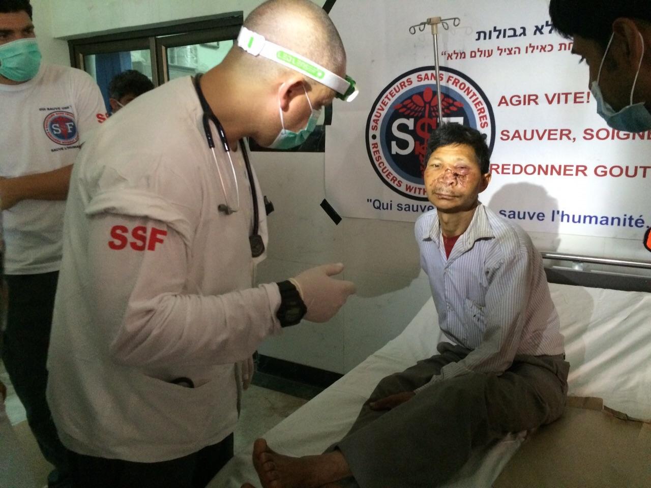 blessé à l'hopital de Bir, Katmandou