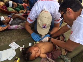 Bébé blessé à Melamchi