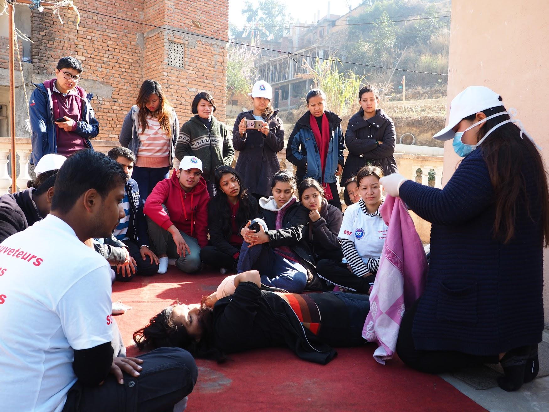 Stage de formation au secourisme, Aadeshowr, Népal, Fev 2018