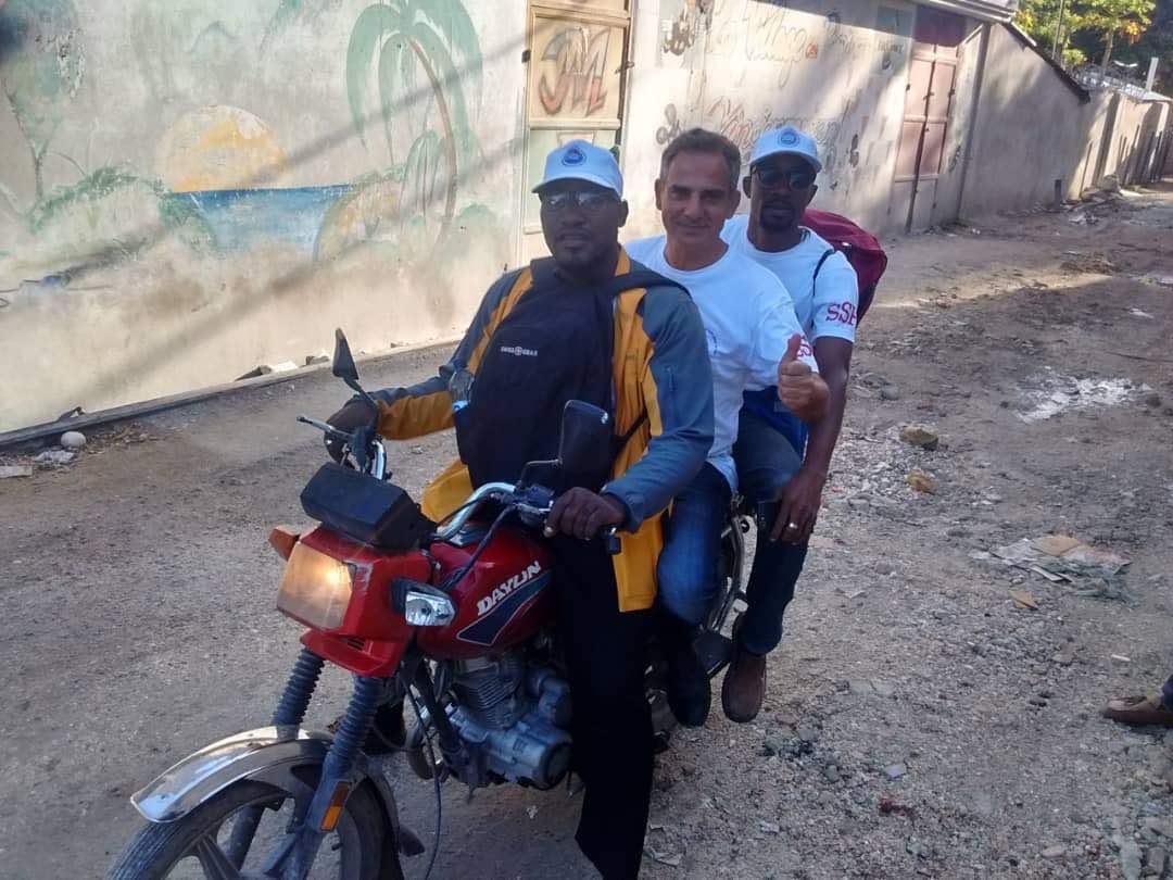 Saintil Rithzer Lee, le président de CSPV, Fernand et Paul Moril, responsable de la formation, Port au Prince, le 08 Juillet 2018
